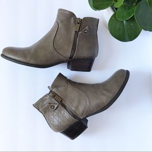 Unisa Taupe Vegan Leather Zipper Ankle Boots 7